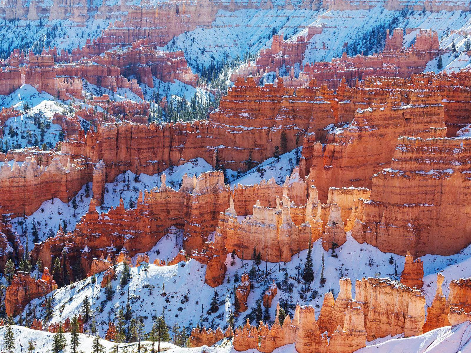 Bryce Canyon rock formations covered in snow